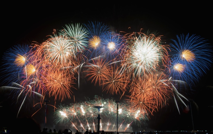 花火大会、パーティー、夜、お祝い、カラフルです