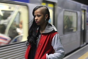 urban, woman, train, subway, train station
