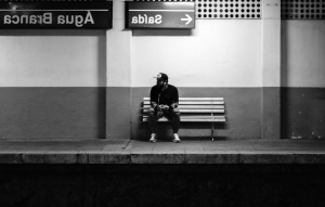 train station, transportation, man, alone, bench