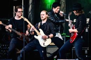 artiste, groupe de musique, concert, divertissement, festival, groupe, guitare