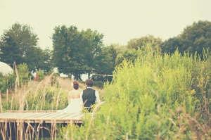 nature, people, pond, wedding, bride, couple, grass