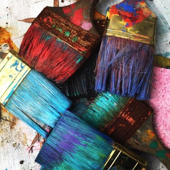 ペイント ブラシ、絵画、美術、ブラシ、カラフルです