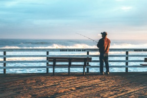 beach, bench, man, fishing, sea, seashore, summer, sun