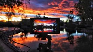 digitální fotoaparát, reflexe, řeka, obloha, východ slunce, západ slunce, mraky, vodu, noc, soumrak