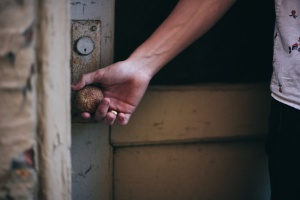 hånd, dører, dørhåndtak, skjorte, porson