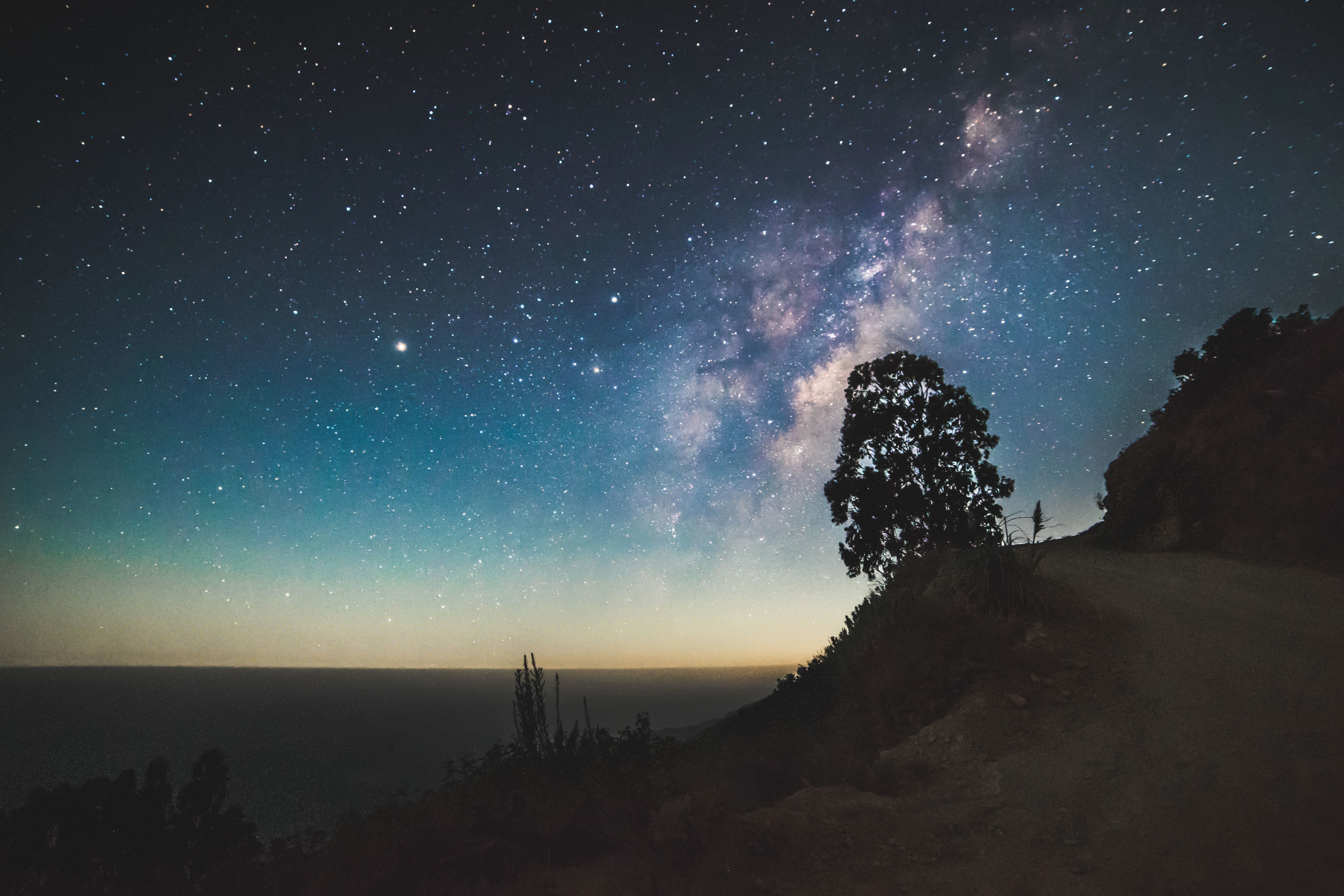 free picture  silhouette  sky  stars  cosmos  milky way  mountain