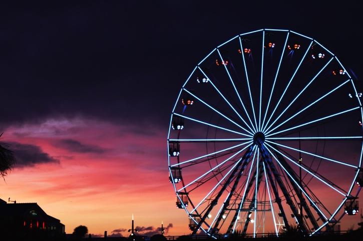 carnaval, circo, color, diversión, parque, diversión, noche, construcción