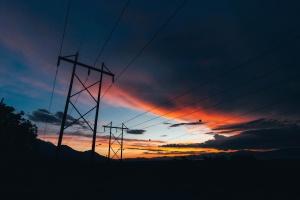 silhouette, sky, sunrise, wire, electricity, power