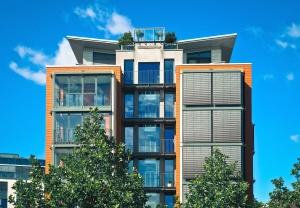 balkon, opbygge, business, træer, urban, lejlighed