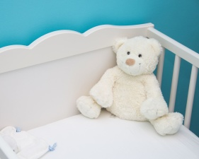 teddy bear, toy,baby, bed, cradle, crib