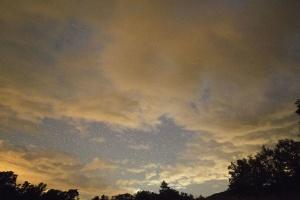 silueta, estrellas, puesta del sol, árboles, tiempo, nubes, oscuro, amanecer