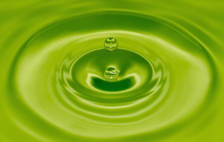 サークル、抽象、水、水、緑丸