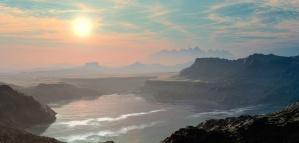 Berg, natuur, mist, lucht, zonsondergang, water