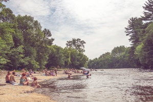 river, crowd, swimming, trees, water, woods