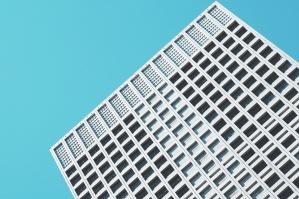 перспектива, небе, прозорци, архитектура, строителство, синьо небе