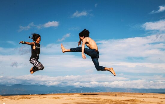 jumping, people, sand, sky, clouds, recreation