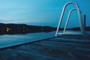 sumrak, jezero, Rijeka, voda