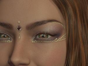øje, makeup, ansigt, portræt, guld, frue, smuk, skønhed