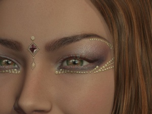ojo, maquillaje, cara, retrato, oro, señora, hermoso, belleza