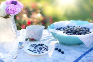 fruits, plate, spoon, table, berries, blueberries, bowl, breakfast, cup