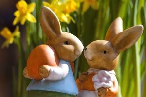 amour, lapins, statues, pâques, vacances, jouets, lapin