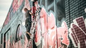 artistic, building, creative, art, graffiti, ladder, man, painting