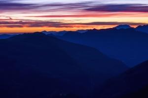 nature, sunrise, sunset, clouds, mountain, range