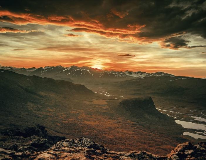 dusk, sunset, mountain, clouds, nature