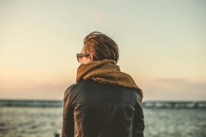 person, alone, fashion, sea, coast, man, Sun, glasses