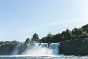 водопад, вода, река, рок, небе, цопвам, лято, дървета