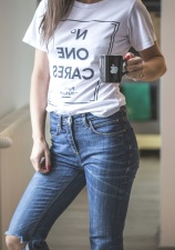 fashion, mug, pants, woman, casual, cup, denim