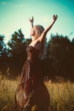 vestido, moda, femenino, libertad, chica, hierba, modelo, al aire libre, mujer