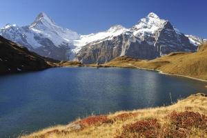 Alps, snow, water, beautiful, blue sky, mountain