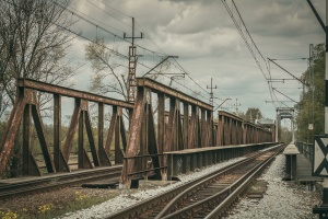 train station, steel, summer, rail tracks, train, transportation