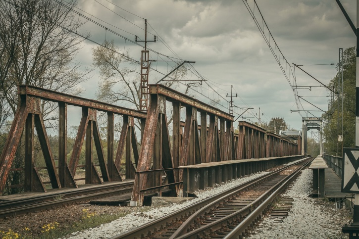 train station, steel, summer, rail tracks, train, transportation