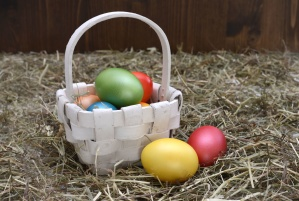 easter eggs, food, grass, hay, nest, paint, pasture