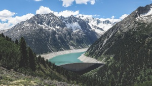 Baum, Tal, Wasser, Holz, Alpen, Gebirge, Wolken