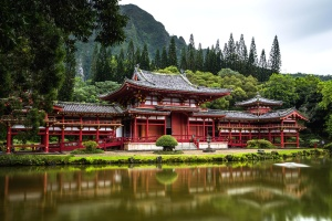 traditional architecture, house, Asia, travel, tree, water, wood, castle