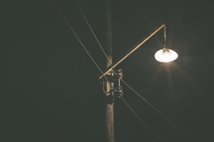 electricity, evening, night, street lamp, wire, wood