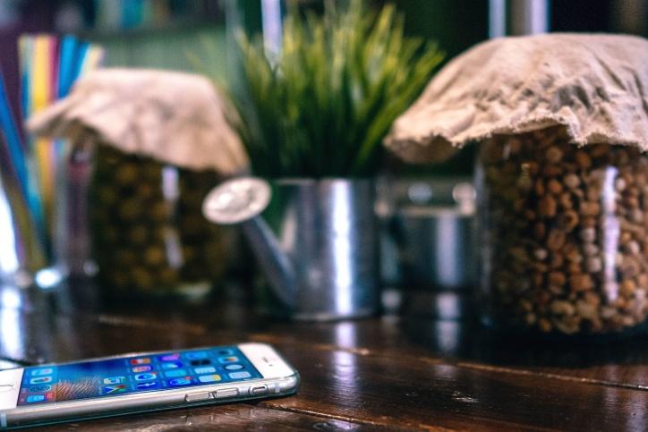 mobiltelefon, rum, smartphone, tabell, teknik, flaskor