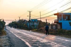 Architektura, asfalt, Zmierzch, elektryczny, street, zachód słońca, miasto