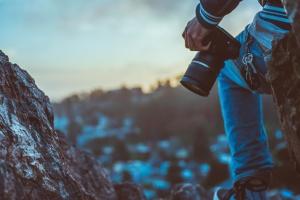 fotograaf, camera, sleutels, recreatie, rotsen, zomer, zonsondergang