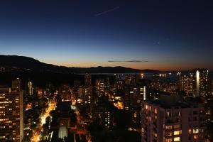 downtown, city, metropolis, night, sky, urban, buildings, city