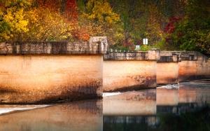 вода, през есента, мост, цвят