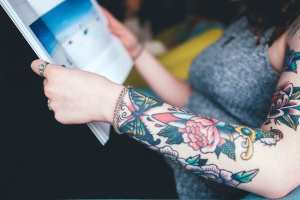 fashion, flower, girl, tattoo, woman, book, hand