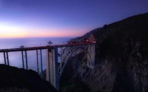 pobrzeże, wschód słońca, wody, plaża, morze, most