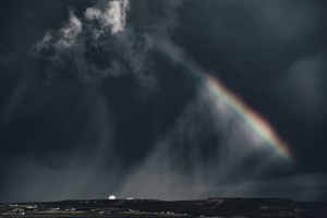 rainbow, sky, storm, clouds, dark, rain