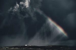 cầu vồng trên bầu trời, cơn bão, mây, tối tăm, mưa
