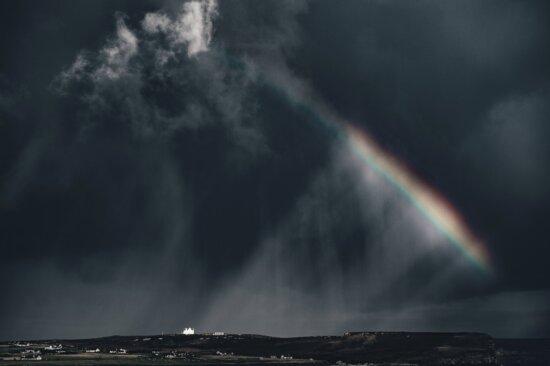 rainbow, sky, storm, clouds, dark, rain