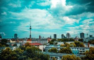 кула, дървета, градски, архитектура, син, небе, сгради, град